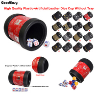 KTV Bar Colorful Gambling Casino Printing Leather Dice Cup With 6pcs 13 White Dice
