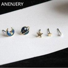 New Brand Fashion High Quality Novelty Universe Planet Moon Stars Faux Pearl Mini Ear Stud Earrings Sets brincos For Women E358