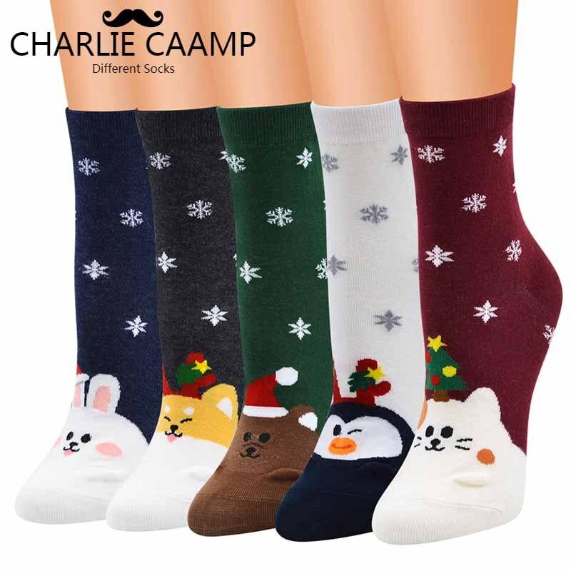 New Ladies Fashion Autumn Winter Hot Christmas Series Cartoon Pattern Women Girl Trend Sweet Lovely Jacquard Cotton Socks F238