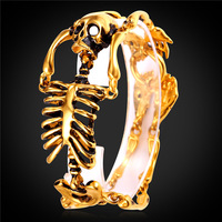Gold Farbe/Edelstahl Armband-Armband Männer Schmuck 2016 Neue Rock Punk Skeleton Hand Charme Armband GH2180