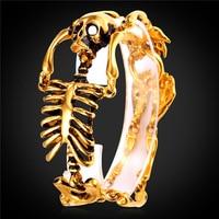 Vàng Màu/Stainless Steel Bracelet Bangle Men Jewelry 2016 New Rock Punk Skeleton Tay Charm Bracelet GH2180