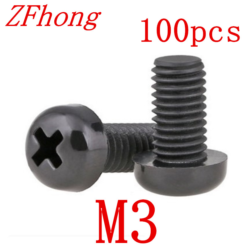 100pcs M3*5/6/8/10/12/15/18/20 black nylon round pan head screw 20pcs m3 6 m3 x 6mm aluminum anodized hex socket button head screw
