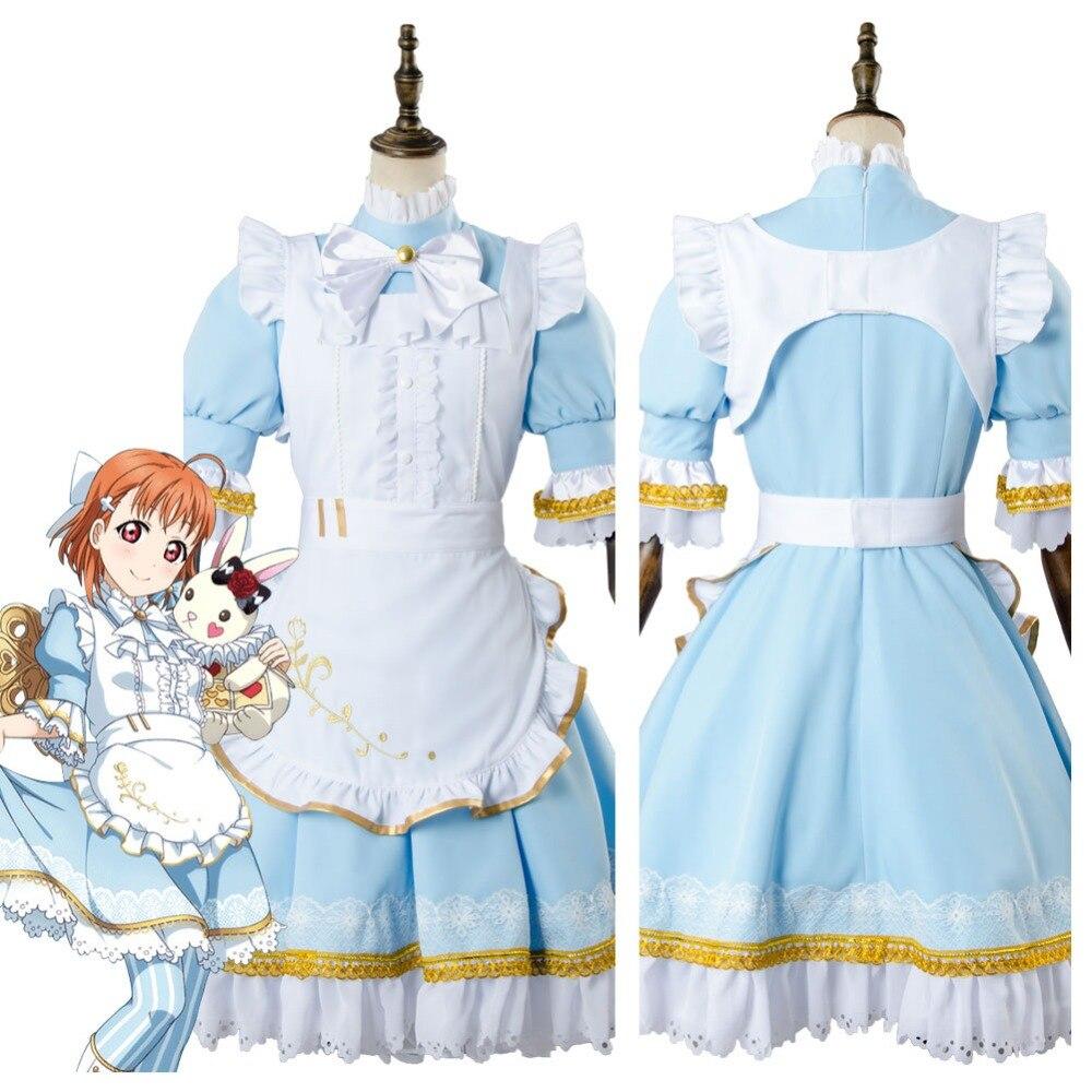 Love Live!Aqours Wonderland Alice Chika Takami Cosplay Costume Maid Suit Dress lovelive love live kunikida hanamaru wonderland alice cosplay costume maid suit dress