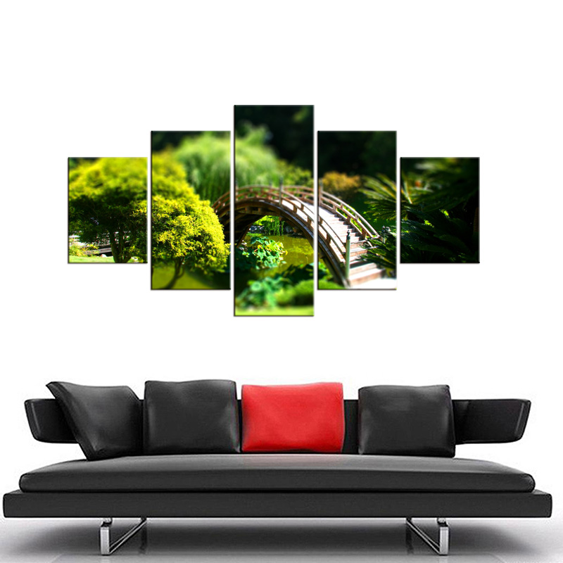 5 Pieces The Beauty Of The Poetic Wood Bridge Scenery Through Forest Modern Wall Art Picture Print Painting For Bedroom Frame in Painting Calligraphy from Home Garden