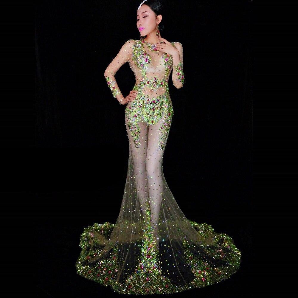 Parti Strass Fuite Vert through See De Célébration Catwlk Coloré Longue Ds Robe Costume Maille Bal Scène Perspective xBUqYHBPn