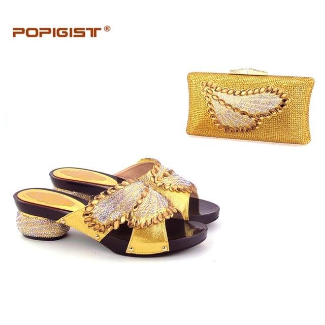 Us 930 Goldene Sweet Heart Design Komfortable Fersen Hochzeit Schuhe Und Tasche Italienische Schuhe Bag Afrikanische Schuhe Und Tasche Set Spiel In