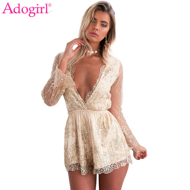 3dd64c634e Adogirl Sexy Deep V Neck Sheer Long Sleeve Diamonds Playsuits 2018 Trendy Women  Shorts Rompers Night Club Wear Party Jumpsuits