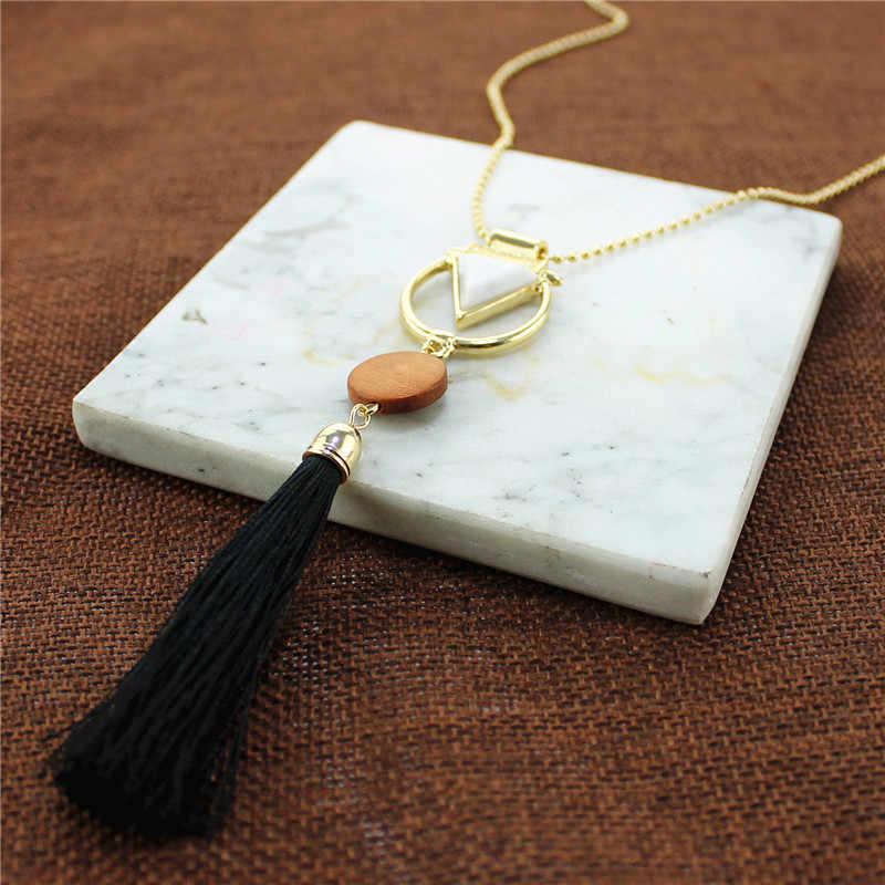 XQ ретро дерево белая Смола треугольник Черная веревка подвеска с длинной кисточкой бисера ожерелье для женщин Дамская мода ювелирные изделия Новинка