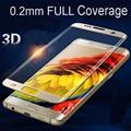Completo Transparente 0.2mm 9 H Templado Cubierta 3D Curva Completa glass film para samsung galaxy s7 edge s6 edge s7 S6