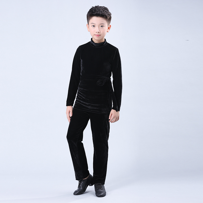 Kids Costume Black Latin Dance Top Ballroom Pants Slim Tango Cha Cha Salsa Samba Practice Wear For Boys Training Clothes DC1151