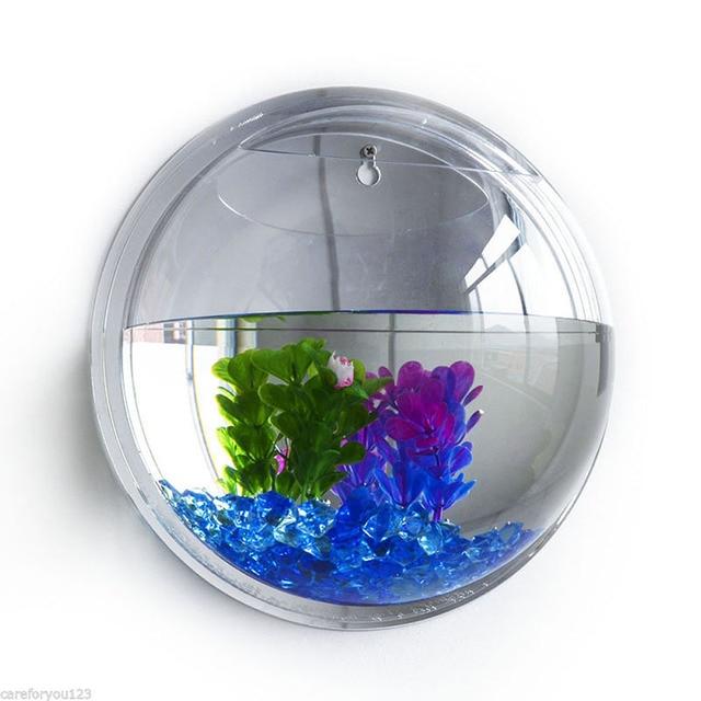 3D Acrylic Wall Mount Hanging Fish Bowl Aquarium Tank Goldfish Hanger Plant Transparent Fish Tank Wall Sticker Decor P0.11