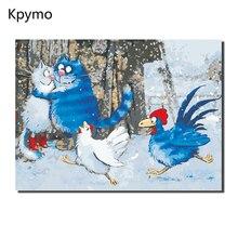 Kpymo Синий Белый Кот Безрамная живопись картины по номерам на холсте настенные картины стены Искусство для гостиной украшения дома