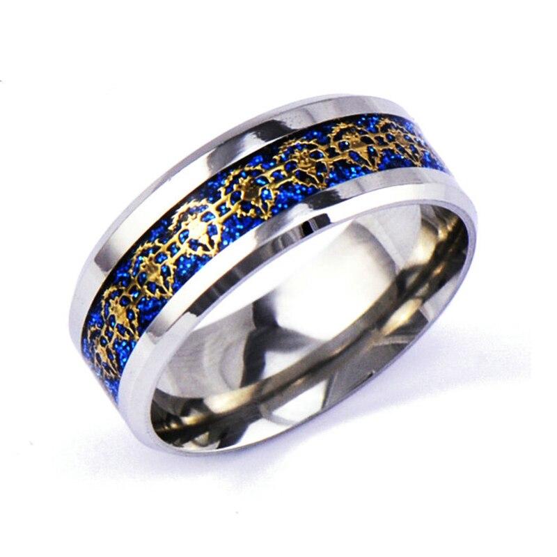 (1 шт./лот) Мода Золотой лев синий основной Серебряный Кольца из нержавейки Для мужчин