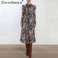 Ziwwshaoyu Europe and the United States 2018 autumn new dress Bohemian Bow A Line Ruffles Vacation Slim fit Silk dress