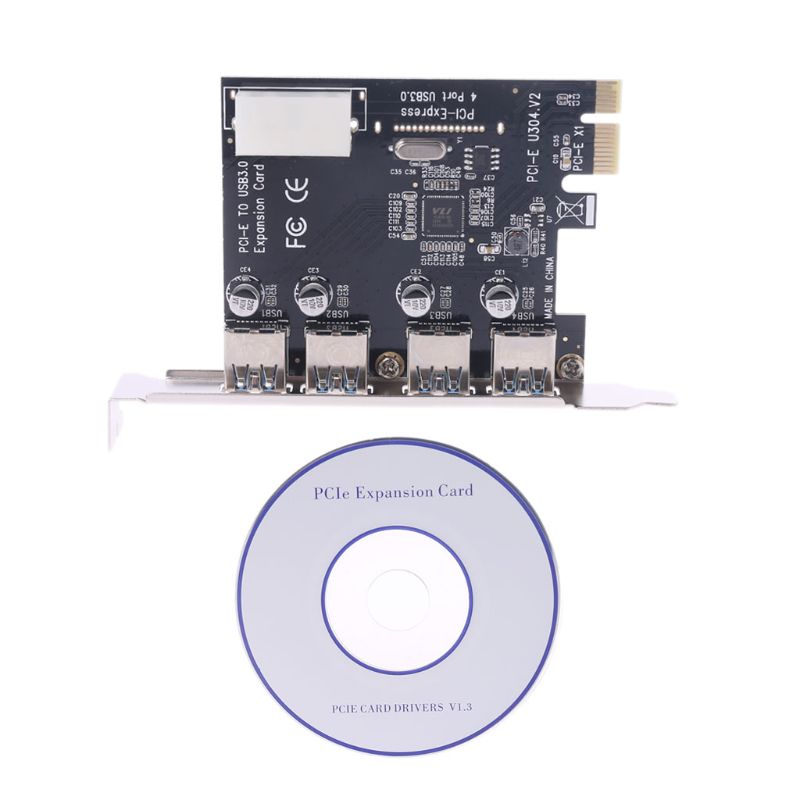 BGEKTOTH High Quality 4 Port <font><b>PCI</b></font>-E to <font><b>USB</b></font> <font><b>3.0</b></font> HUB <font><b>PCI</b></font> <font><b>Express</b></font> Expansion Card Adapter 5 Gbps Speed image