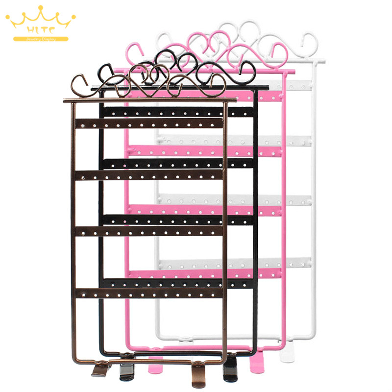 48 agujeros estante de exhibición de Metal soporte de armario de la joyería pendientes de los organizadores de embalaje y de venta al por mayor