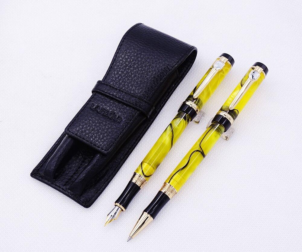 Jinhao Century Series stylo plume en celluloïd jaune et stylo à bille roulante avec porte-crayon en cuir véritable noir