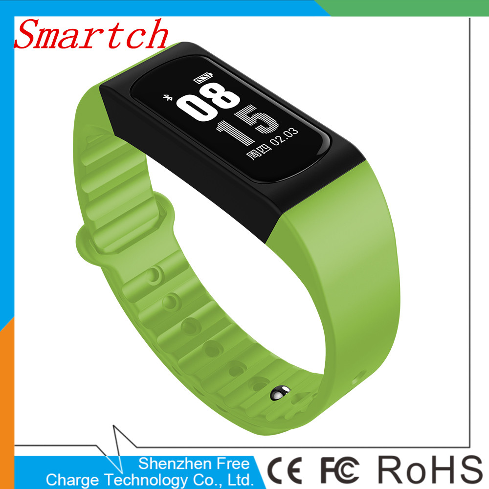 Smartch Latest Sport Waterproof Smart Bracelet Support Pedometer Heart rate Body Temperature Message and Call Alert
