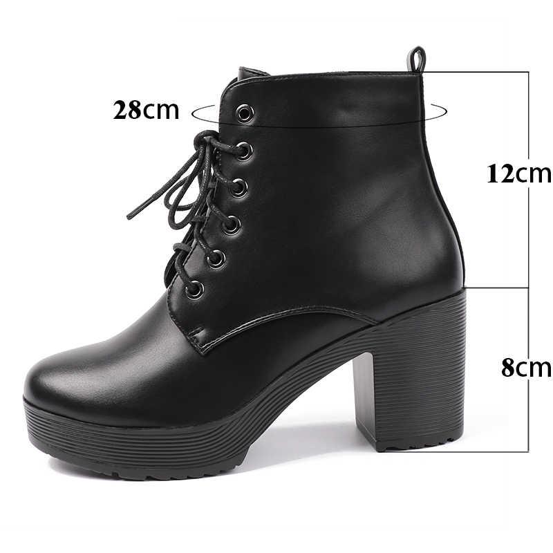 AIMEIGAO Platform Topuklar Kadınlar yarım çizmeler Yumuşak Deri Kalın yüksek Topuk Platform Çizmeler Kış Sonbahar Botları Sıcak Kürk Büyük Boy