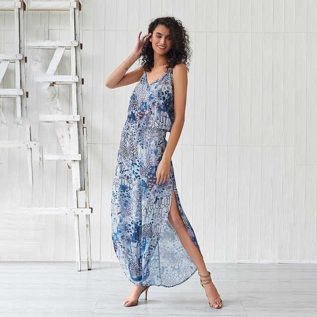 Summer Fashion Printed Beach Jumpsuit Women Boho Sexy V Neck Backless Overalls Chic Wide Leg Pants Split Blue Casual Jumpsuits