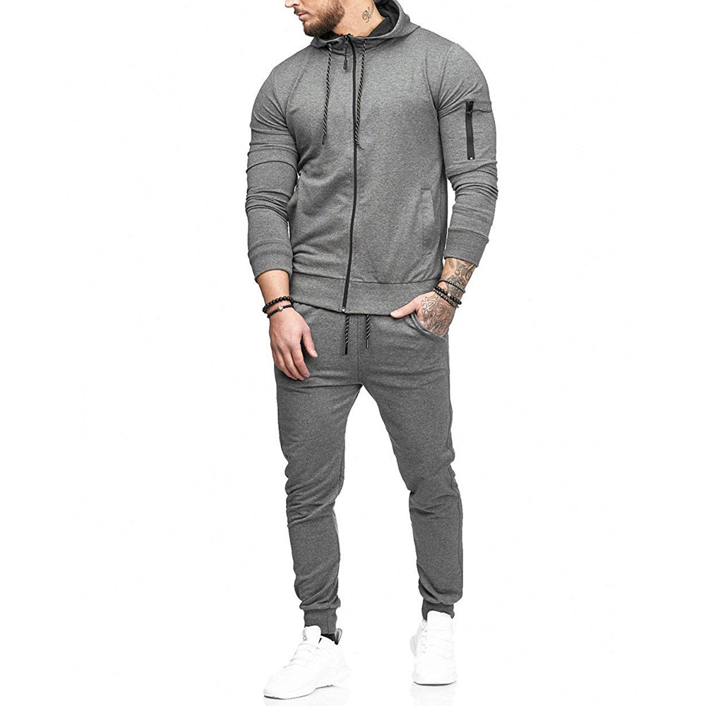 HTB1WQgxw8jTBKNjSZFDq6zVgVXaM 2019 fashion Patchwork Zipper Sweatshirt Top Pants Sets Sports Suit solid color slim Tracksuit High Quality Pullover clothing