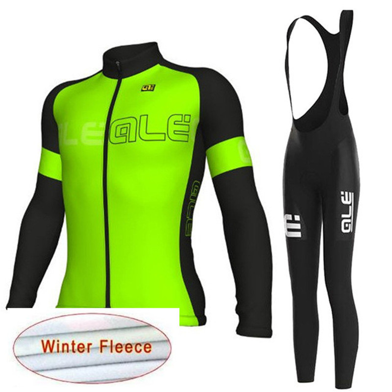 ropa ciclismo invierno hombre 2018 Pro Team ALE Men Cycling Jersey bib pants set Winter Thermal fleece Bicycle Bike Clothing A5 men thermal long sleeve cycling sets cycling jackets outdoor warm sport bicycle bike jersey clothes ropa ciclismo 4 size