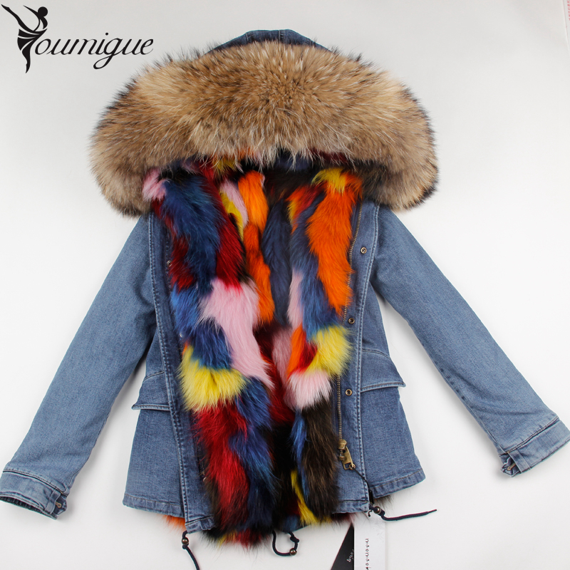 YOUMIGUE Large Raccoon Fur Collar Women Winter Coat Jacket Denim Real Fox Fur Lining Female Casual Outwear Brand Style Parkas women large collar army camouflage fox fur liner hooded coat outwear real fox fur lining jacket woman brand dhl free shipping