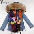 YOUMIGUE Large Raccoon Fur Collar Women Winter Coat Jacket Denim Real Fox Fur Lining Female Casual Outwear Brand Style Parkas