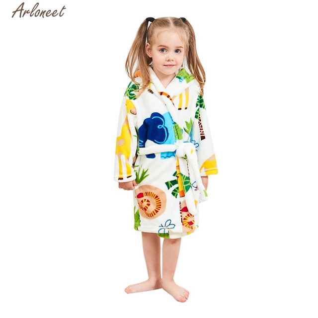 ARLONEET Clothes Baby Girls Boys Cartoon Tree Printing Long Sleeve Pajamas  2019 Children Hooded Towel Cotton 38138c8f7