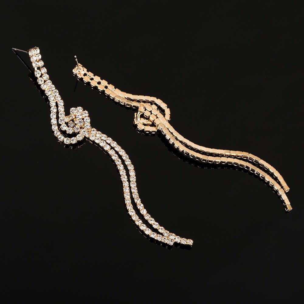 YFJEWE Top vente femmes mode longue cristal strass boucles d'oreilles luxueux Vintage qualité boucles d'oreilles pour robe latine fête E372