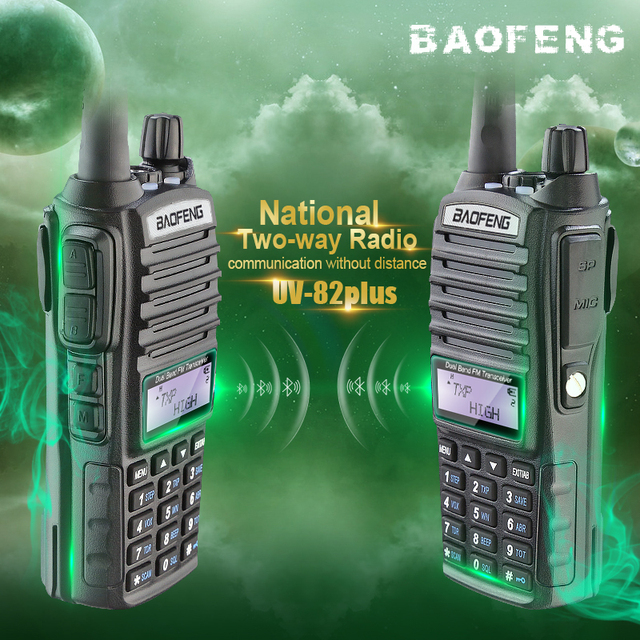 2 pcs brand new baofeng 8 w uv-82plus pofung uv 82 ham radio walkie talkie interfone portátil dupla ptt handheld rádio amador