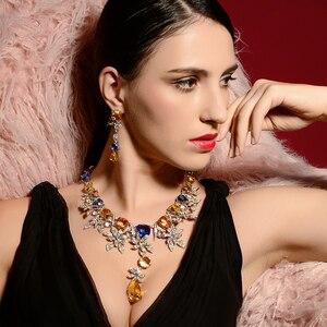 Image 2 - Viennois Cao Cấp Bộ Trang Sức Hoa Thiết Kế Nhiều Màu Tinh Thể Vòng Cổ và Bông Tai Trang Sức Nữ Cô Dâu Bộ trang sức
