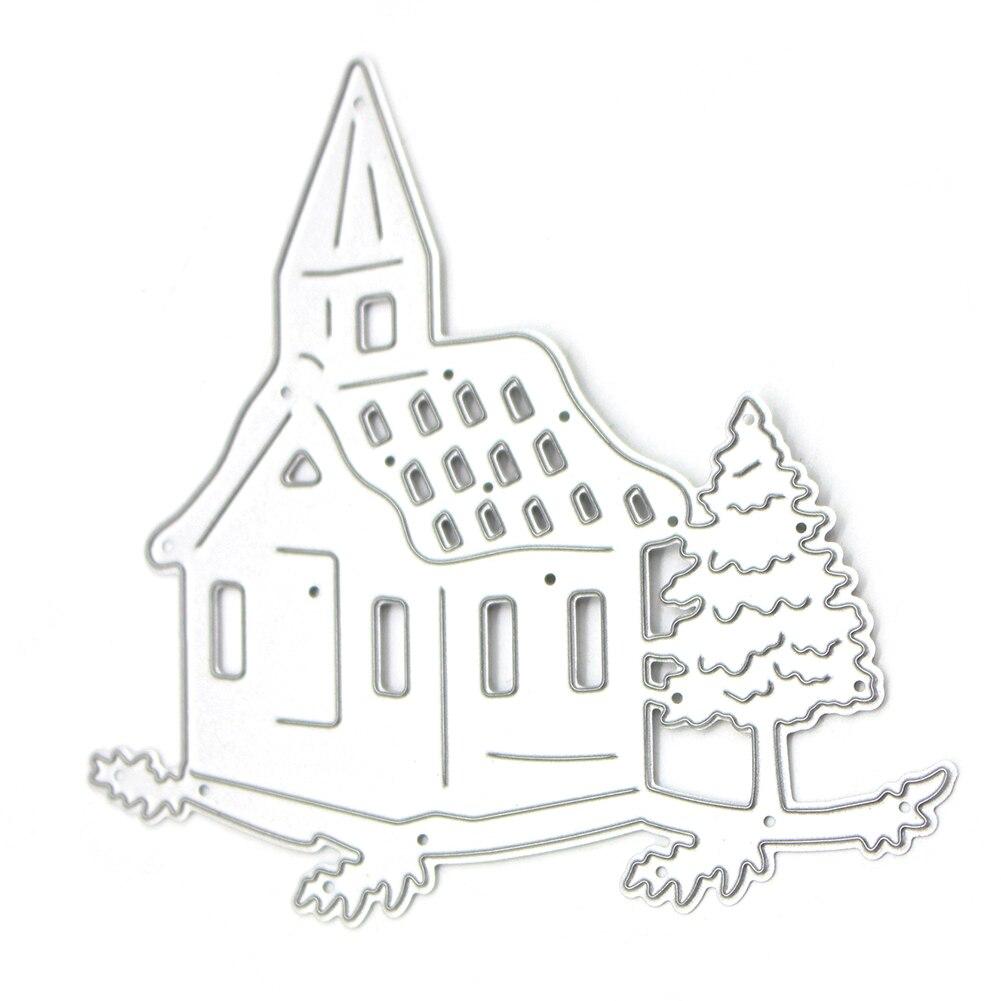 Christmas Tree House Metal Cutting Die Stencil for DIY Scrapbooking Album Paper Envelope Card DIY Craft Frame Template