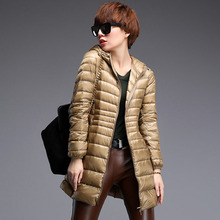 New 2016 Women UltraLight Down Jacket Medium-Long Hooded Winter Coat 90% White Duck Down Parka Warm Female Outerwear Plus Size