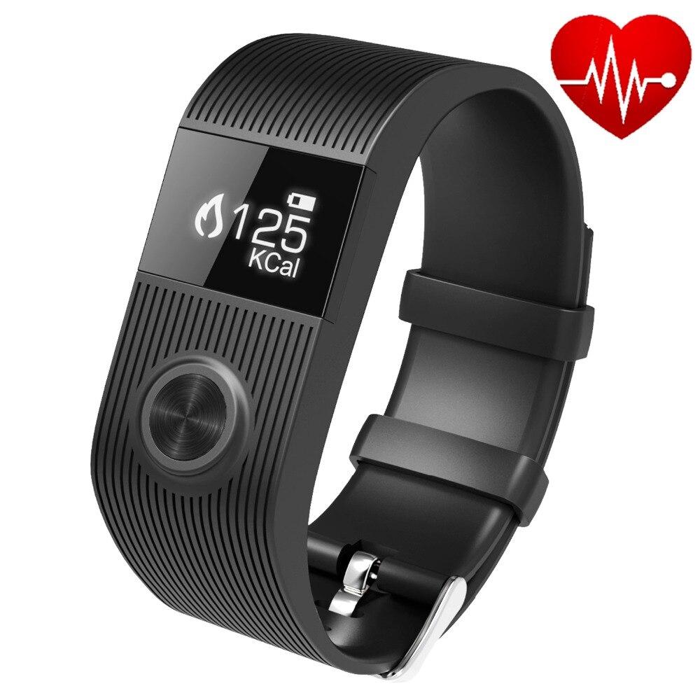 imágenes para TW64 Plus Heart rate monitor de Fitness Inteligente Rastreador Pulsera banda SMS Push Fitbit Podómetro Para IOS y Android Smartband PK Mi banda