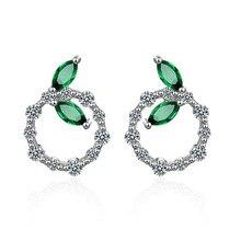 цены New Arrivals Trendy Elegant Green Leaf Cubic Zirconia 925 Sterling Silver Ladies`Stud Earrings Original Jewelry Anti Allergy