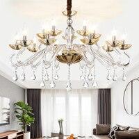 Stile europeo LED luci Lampadario di cristallo Minimalista luci di goccia di vetro di lusso soggiorno camera da letto di cristallo HA CONDOTTO LA lampada Lampadario-in Lampadari da Luci e illuminazione su