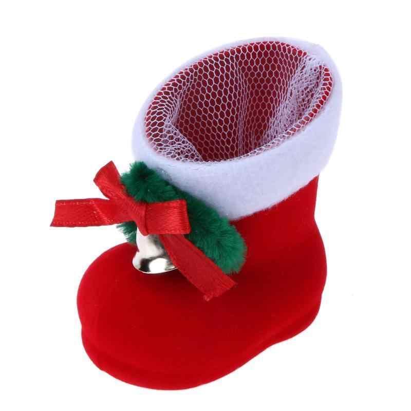Caliente 1 ppiezas Navidad Santa bota zapatos calcetín flocado árbol de Navidad decoración adornos rojo encantador colgante dulces regalo soportes