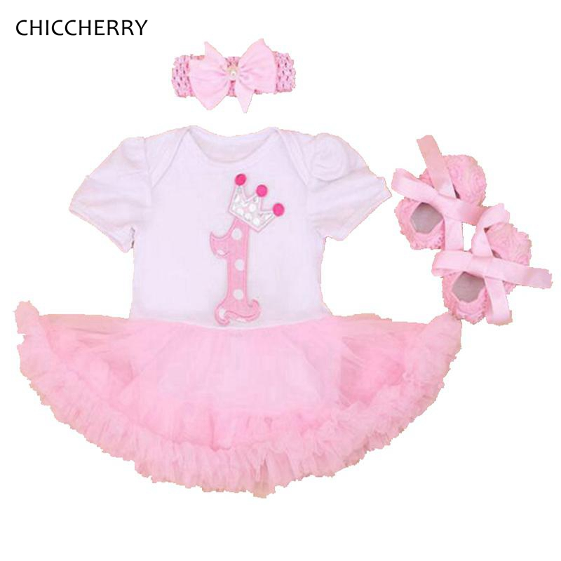 Baby Girl 1st Birthday Outfit Summer Clothing Sets Lace Romper Dress Crib Shoes Headband Toddler Tutu Sets Girls Clothes 2017