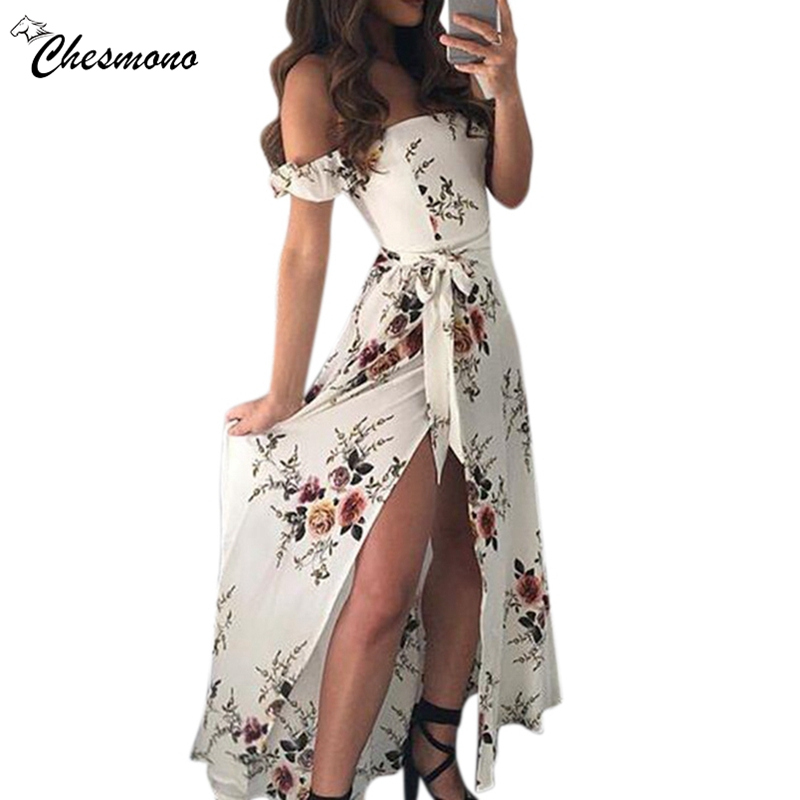 Women Off Shoulder Floral Print Boho Dress Fashion Beach Summer Dresses Ladies Strapless Long Maxi Dress Vestidos 2 wear