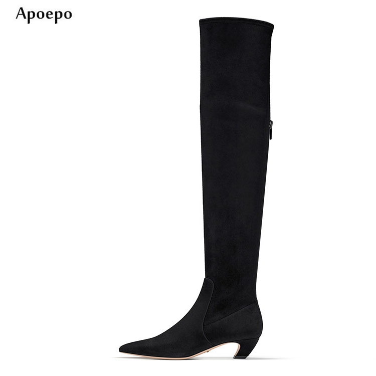 Apoepo Newest Black Stretch Fabric Over the Knee High Heel Boots 2018 Pointed Toe Thick Heels Woman Boot Fashion Thigh high boot