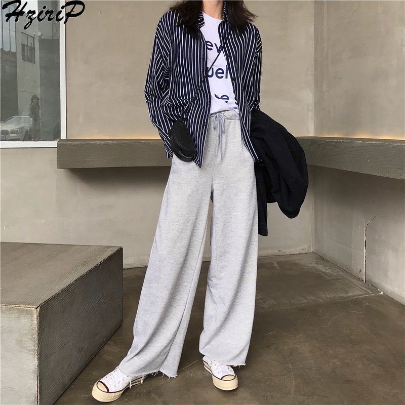 HziriP Loose Casual Fresh New Female Spring Lace All-Match Ladies Hot Simple   Wide     Leg     Pants   Free Full Length   Pants   2 Colors