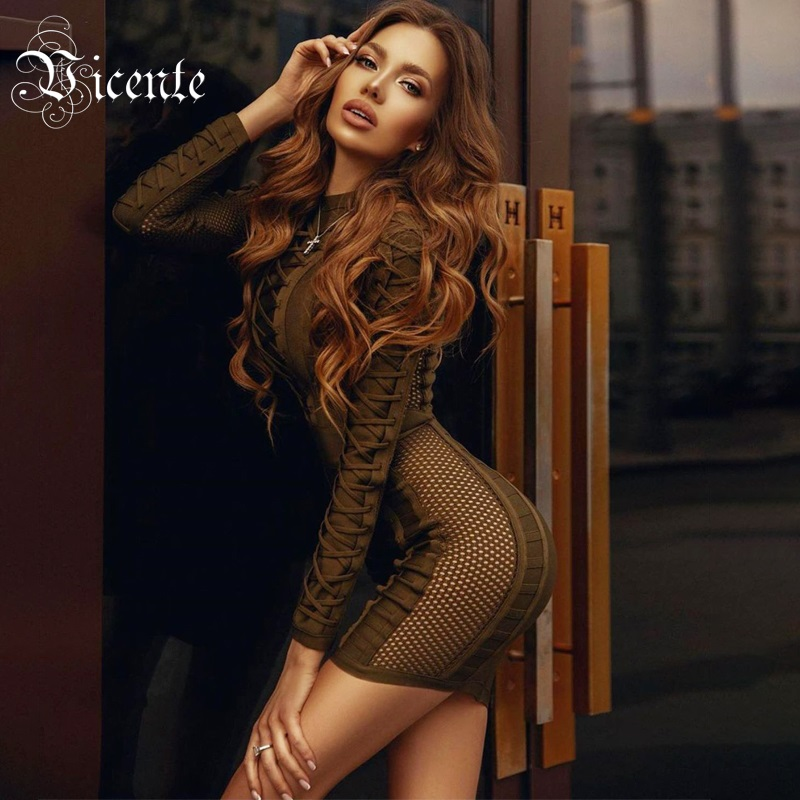 Vicente All Free Shipping 2019 New Chic Army Green Dress Lace up Design Long Sleeves Celebrity