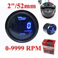 Digital Tachometer Tach Gauge for Auto Car 52mm 2in LCD 0~9999RPM Warning Light Black 4 6 8 Cylinders