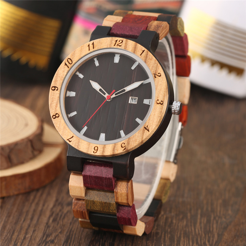 Charming Quartz Wood Watches Black Red Dial Colorful Strap Wooden Watch for Men Calendar Function Natural Ebony Box часы мужские(China)
