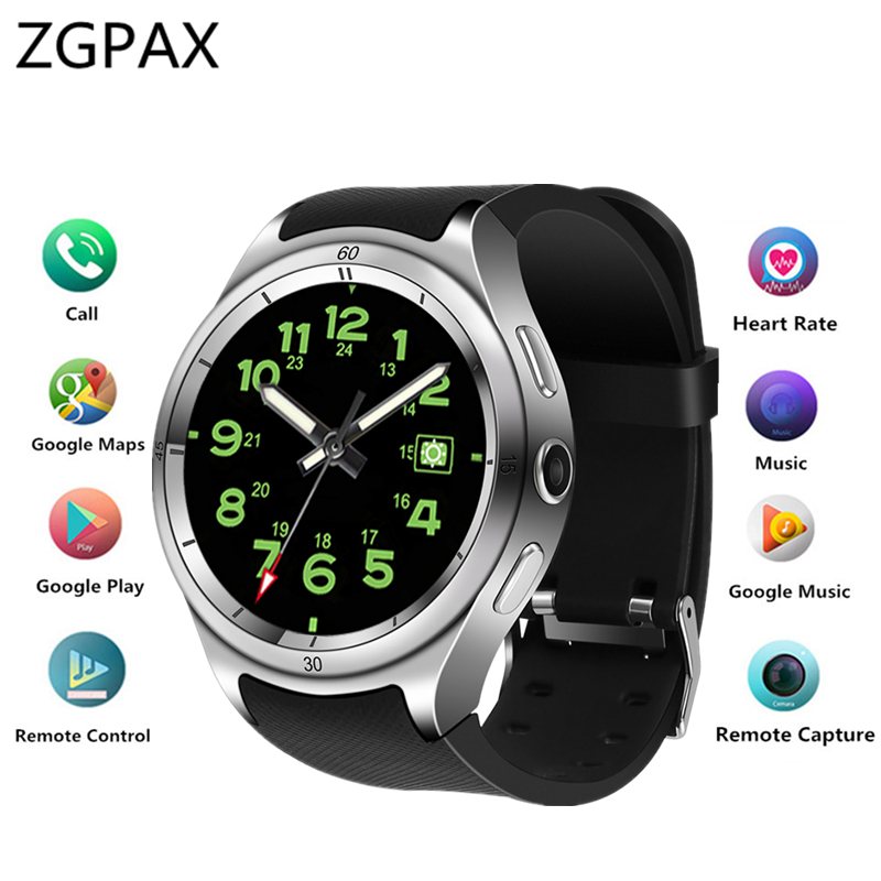 ZGPAX Bluetooth Smart watch Android 5.1 MTK6580 Quad-core 1GB+16GB smartwatch IP67 Waterproof 3G+WiFi+GPS Heart rate PK X200 цена