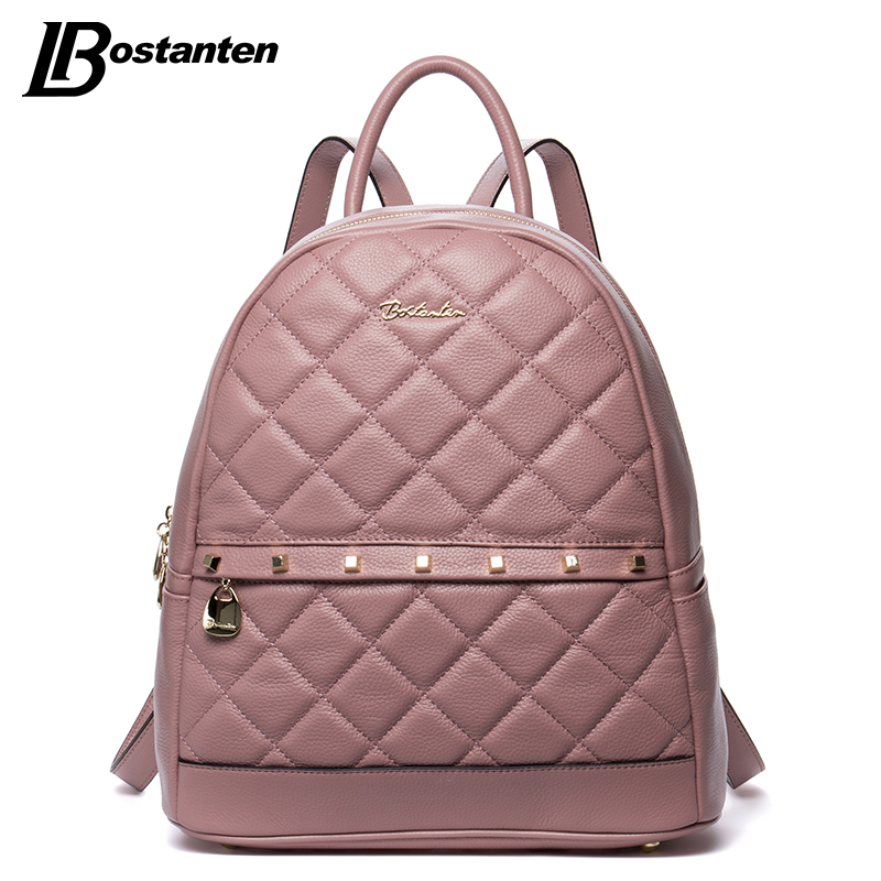 ФОТО BOSTANTEN Fashion Diamond Lattiice Genuine Leather Backpack Rivet Women Bags Preppy Style Backpack Girls School Bags Back Pack