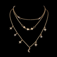 Star Moon Multi Layer Pendant Necklace for Women Bohemian Vintage Necklaces Fashion Collar Costume Jewelry