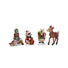 4PCS/Lot Christmas Decorations For Home New Year Gifts Navidad Noel Resin Deer, Tortoise, squirrel and raccoon