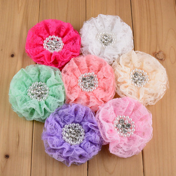 60pcs Lace Beaded Chiffon Flower Pearl Rhinestone Lace Ruffled Flower 16Colors